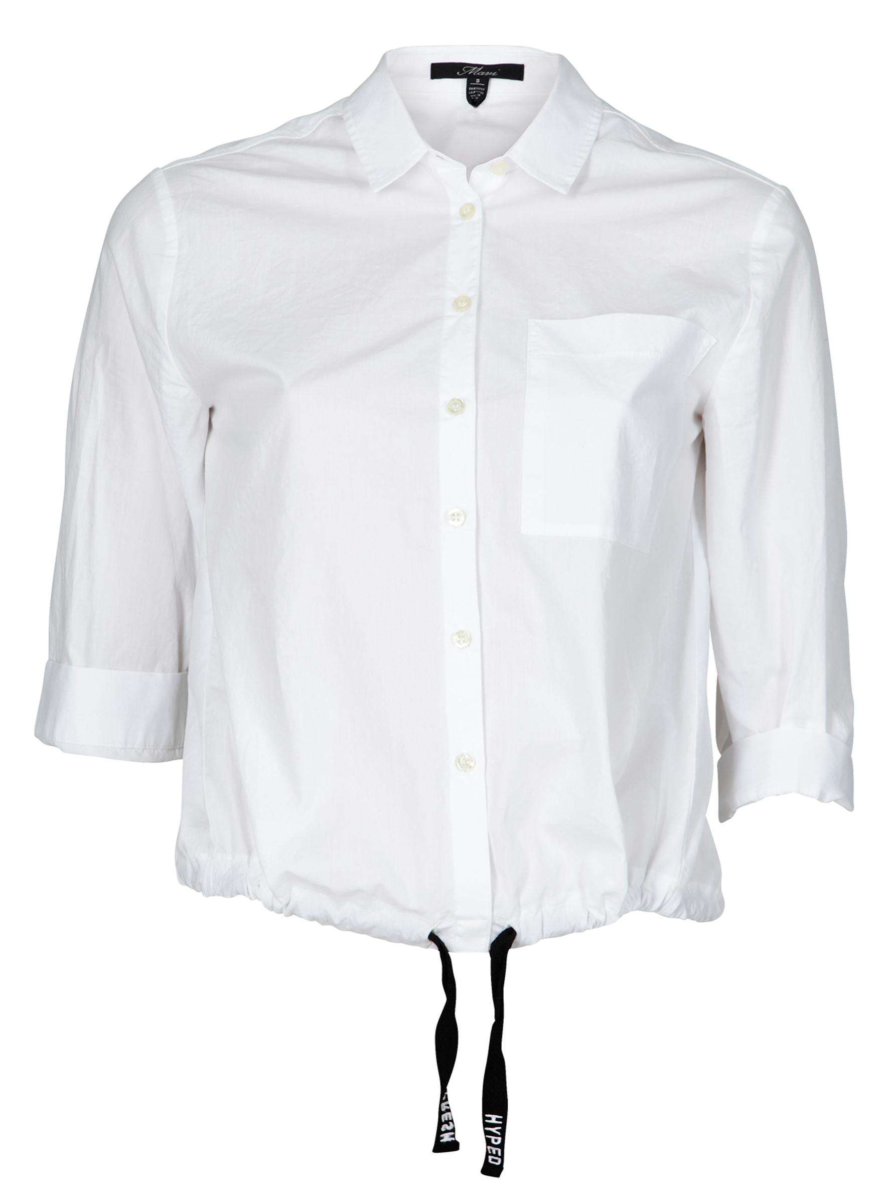 Weiße langarm Bluse mit Statement Schnürung am Bund in der Mavi Jeans Sommerkollektion