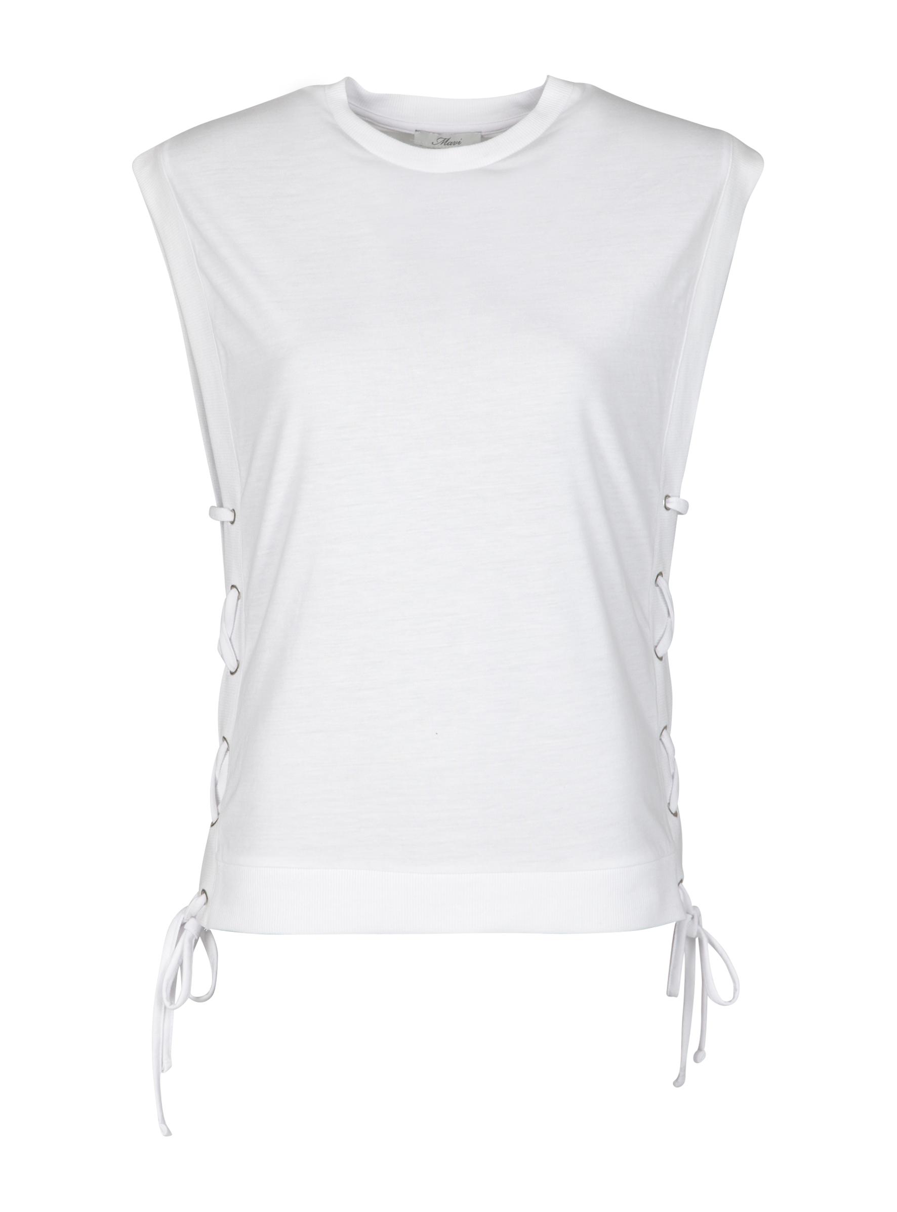 Weißes ärmelloses Top mit Flecht Schnürung an den Seiten bei Mavi Jeans