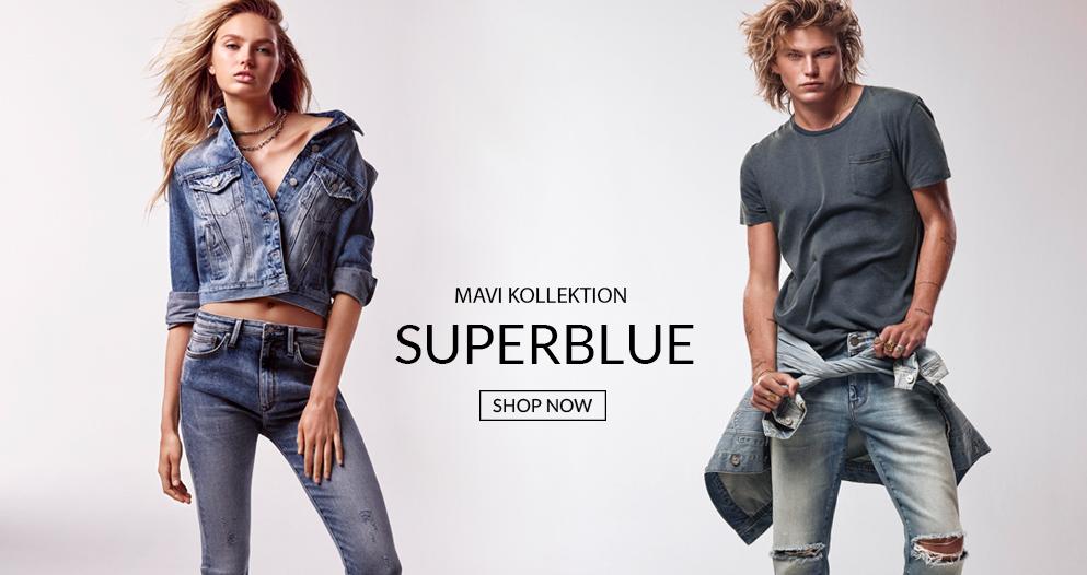 SUPERBLUE Romee Strijd und Jordan Barrett präsentieren unsere Denim Mode bei Mavi Jeans