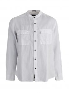 Leinenhemd ohne Kragen in weiß für den Sommer ein Must Have jetzt auch in der Mavi Jeans Sommer Kollektion