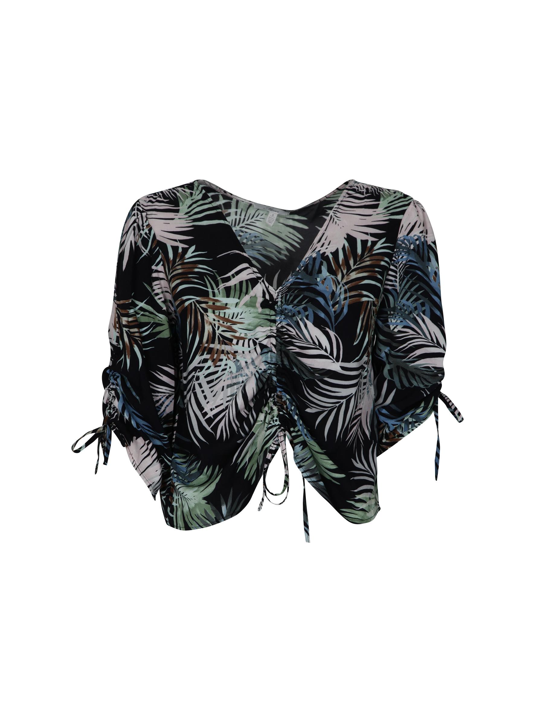 leichte Summer Bluse mit floralem Muster und Schnürungen an Armen und Bauch in der Mavi Sommer Kollektion