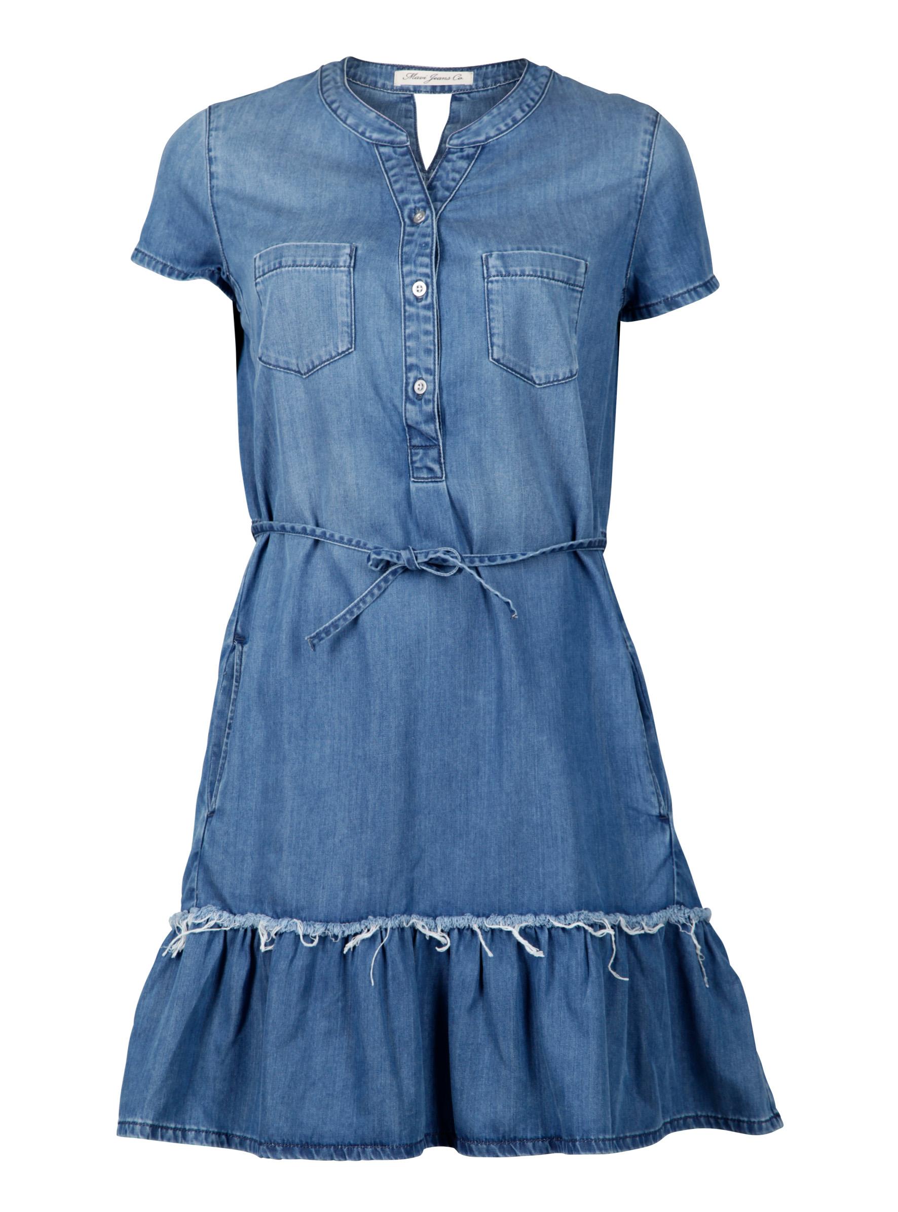 Mavi Denimkleid mit Gürtel un Franzen am Bund
