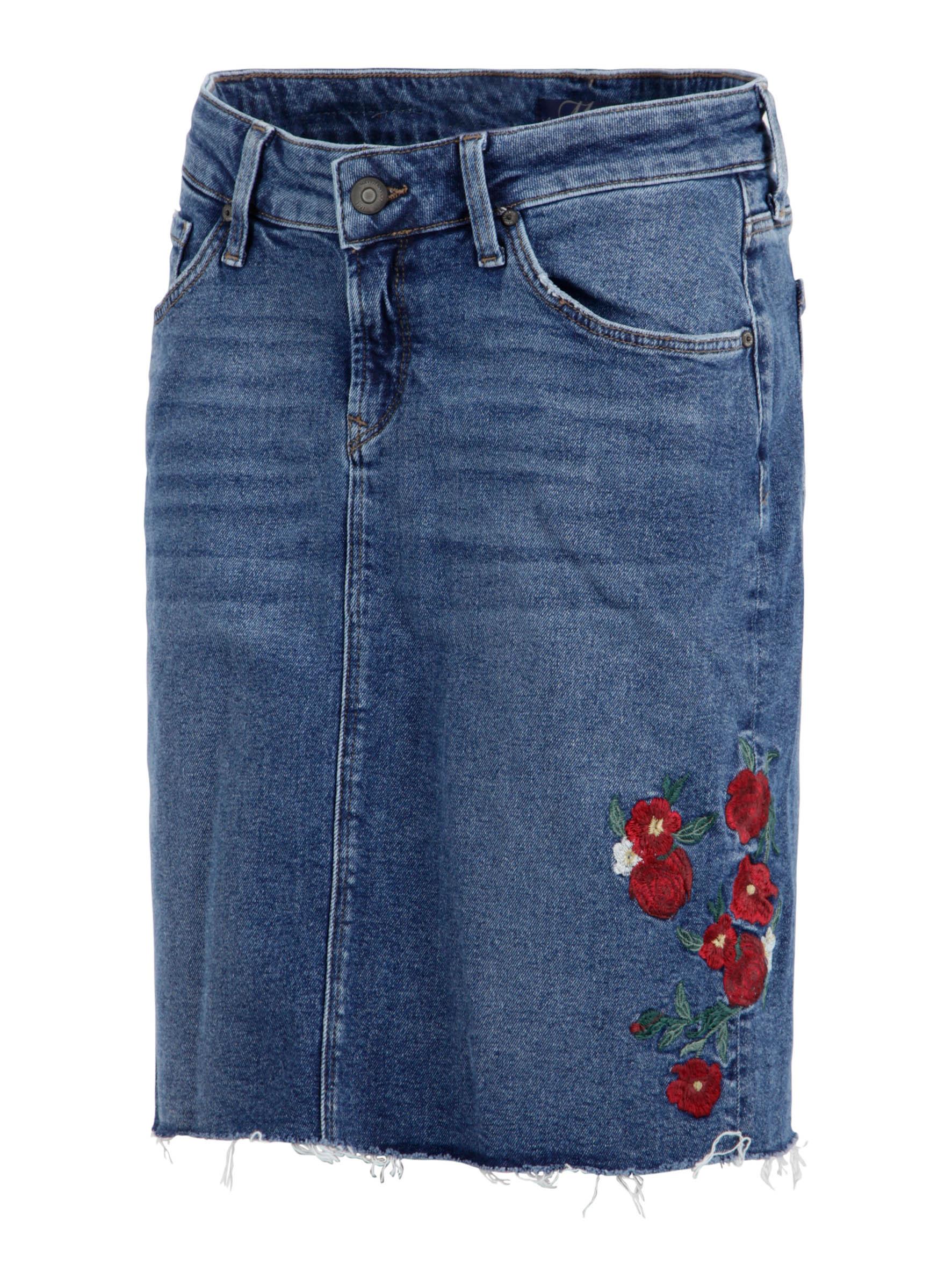 Jeans Rock Renee passend für warme Tage jetzt auch mit Blumen Stickereien