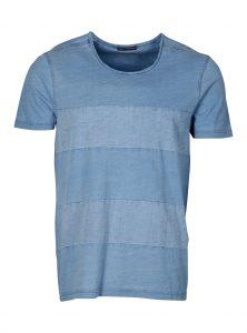 Trendiges blaues T-Shirt mit leichten Streifen auf der Vorder- und Rückseite bei Men Mavi Jeans