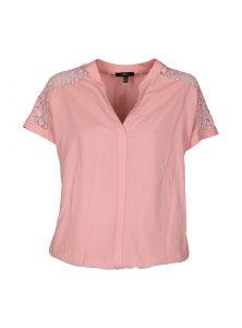 Kurzarm Bluse in rose mit Spitzendetails an den Schultern jetzt im Sale bei Mavi Jeans