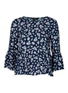 Geprintete Bluse in blau Blaue Bluse mit Blümchen-Print und Volant 7/8 Ärmel im Sale bei Mavi Jeans