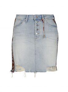 Jeansrock in hellblau mit Ethno Details an den Seiten Used Look jetzt im Sale bei Mavi Jeans