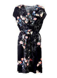 Elegantes Kleid in schwarz mit Blumenmuster
