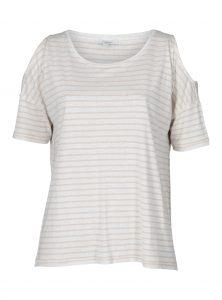 Gestreiftes T-Shirt mit Cut-Outs an den Schultern Kurzarm jetzt im Sale bei Mavi Jeans