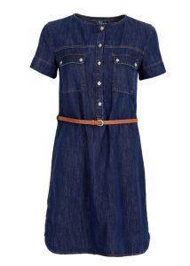 Jeans Kleid mit rundem Ausschnitt und einem süßen schmalen Gürtel in der Mavi Jeans Herbst Kollektion