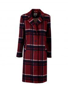 Karierter Mantel in Rot mit Reverskragen und Seitentaschen, zwei schwarzen Knöpfen neu bei Mavi Uptwon Women in der FW Kollektion