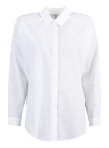 Bluse in Weiß aus Baumwolle Weiße Bluse mit Knopfleiste Lockerer Sitz Langarm und Kentkragen Raffung an den Ärmeln nei bei Mavi neue Kollektion Young Fashion