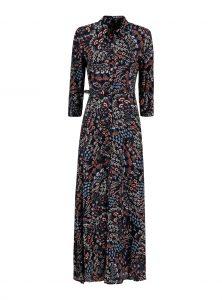 Langes Kleid aus Viskose mit Paisley Muster Maxikleid in schwarz mit buntem Paisley Muster Kentkragen und Knopleiste 3/4 Arm Abnehmbarer Gürtel Seitliche Schlitze neu bei Mavi