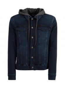 Jeansjacke mit dunkelgrauer Kapuze Dunkelblaue Waschung Knopfleiste mit dunkelgrauen Knöpfen in der neuen Mavi Men Kollektion