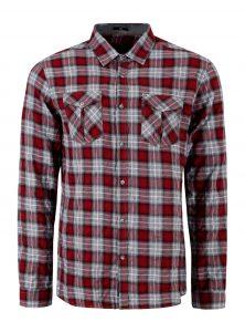 Kariertes Hemd in rot grau Klassischer Kentkragen und Knopfleiste Brusttaschen Enganliegende Passform in der neuen Mavi Men Kollektion