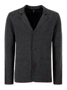 Jacket aus Wollgemisch in grau meliert mit schmalem Revers, Knöpfen in Holzoptik und aufgesetzte Taschen aus der neuen Mavi Herren Kollektion