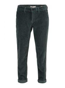 Selina | Dunkelgrüne Chino Boyfriend Hose aus Cord mit lockerem Schnitt, mittlerer Leibhöhe, gerade geschnittenem Bein und umgeschlagenem Saum aus der neuen Mavi Young Fashion Kollektion