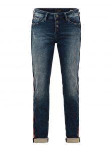 Andrea | Mid Waist Boyfriend Jeans in blauem Denim im Vintage-Look mit roten Bindings, gekrempeltem Saum und offener Knopfleiste aus der neuen Mavi Uptown Kollektion