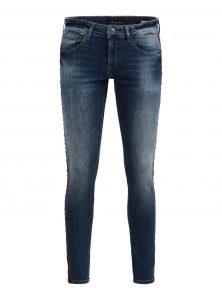 Dunkelblaue Mid Waist Super Skinny Ankle Jeans im Used-Look mit weinroten Samt-Bindings aus der neuen Mavi Young Fashion Kollektion