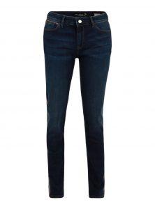 Nicole | Mid Waist Super Skinny Jeans in Dunkelblau mit glitzernden Bindings in Silber und Braun aus der neuen Mavi Uptown Kollektion