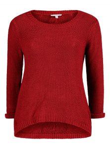 Roter Strickpullover Langarm und Rundhalsausschnitt mit Zopfmuster am Rücken und abgerundetem Saum in der neuen Mavi Young Fashion Kollektion