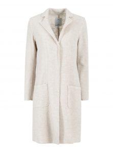 Beiger Mantel aus Wollmischung in geradem Schnitt mit Drucknöpfen und Revers aus der neuen Mavi Young Fashion Kollektion