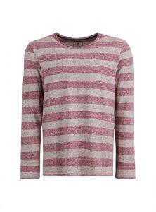 Lässiges Langarmshirt mit roten und grauen Streifen, geradem Saum und Rundhalsausschnitt aus der neuen Mavi Herren Kollektion