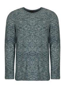 Melierter Pullover in verschiedenen Blautönen und Weiß mit gerolltem Saum, auch an Ärmeln und Kragen,Rundhalsausschnitt und langen Ärmeln aus der neune Mavi herren Kollektion