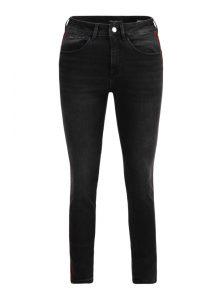 Tess   High Waist Super Skinny Jeans in Schwarz mit rotem Samt Binding und verkürztem Bein aus der neuen Mavi Young Fashion Kollektion
