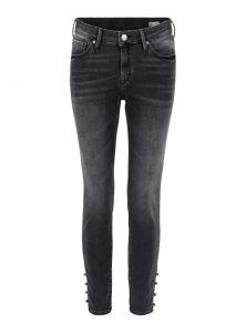 Nicole Ankle | Verkürzte Super Skinny Jeans mit Perlendetails, mittlerer Leibhöhe, sehr enganliegende Passform und Perlenverschluss am Beinabschluss aus der neuen Mavi Uptown Kollektion
