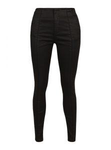 Lucy | Schwarze High-Waist Super Skinny Hose aus Jeather im Lederlook, mit verdecktem Reißverschluss, französischen Taschen, einer durchgehenden Naht vorne und Paspel-Taschen hinten mit Logo aus der neuen Mavi Winter Young Fashion Kollektion