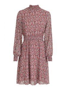 Kleid aus Viskose mit hohem Kragen und rosa Muster aus der neune Mavi Uptown Kollektion