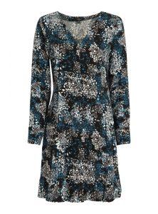 Schwarzes Langarmkleid mit blau weißem Muster, Knopfleiste vorne, V-Ausschnitt, Schleife am Rücken und tailliertem Schnitt aus der enuene Mavi Uptown Kollektion