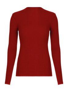 Roter Pullover mit Stehkragen und hellroter Ziernaht mit geradem Saum aus der neuen Mavi Uptown Kollektion.