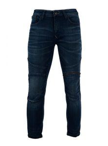 Dunkelblaue Skinny Jeans mit Reißverschluss und 5-Pocket Style, sowie Nähte und Reißverschluss im Biker Stil aus der neuen Mavi Herren Kollektion
