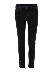 Sophie | Mid Waist Skinny Jeans in dunkelgrau mit schwarzen Pailletten und Steinchen in Blumenform aus der enuene Mavi Uptown Kollektion