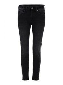 Super Skinny Jeans mit mittlerer Leibhöhe in dunkelgrauer Waschung Bindings an der Seite aus silbernen Kettchen aus der neuen Mavi Young fashion Kollektion
