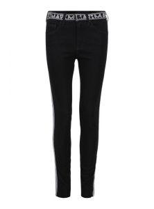 Schwarze High Waist Super SkinnyJeans mit weißen Bindings und einem Hosenbund aus Gummi mit Mavi Logos aus der Mavi Fall/Winter Kollektion